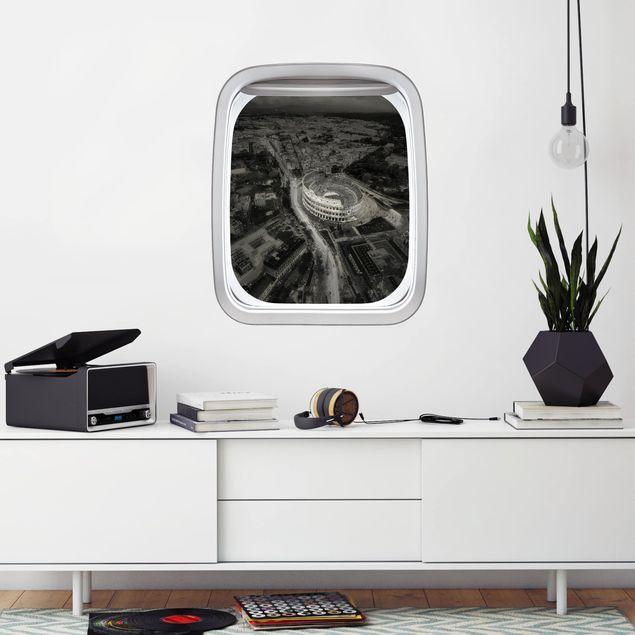 3D Wandtattoo - Fenster Flugzeug Kolosseum von Oben