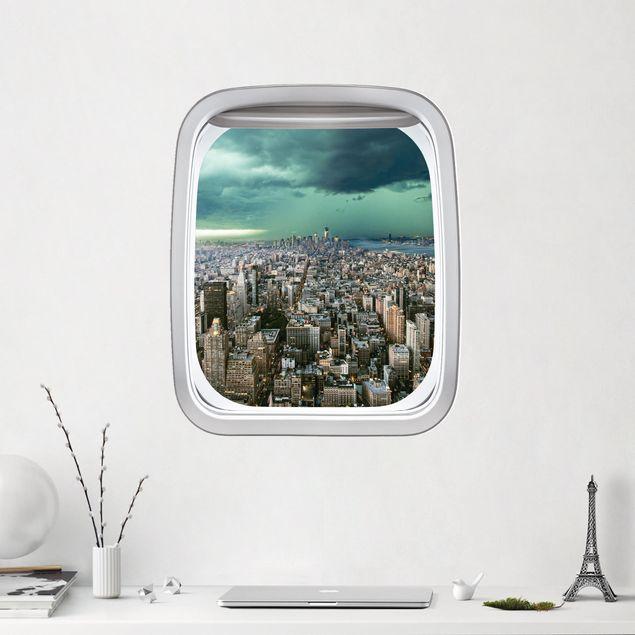 3D Wandtattoo - Fenster Flugzeug Skyline New York im Gewitter