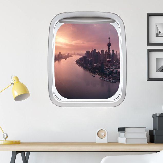3D Wandtattoo - Fenster Flugzeug Sonnenaufgang in Shanghai