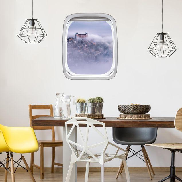3D Wandtattoo - Fenster Flugzeug Stadt Toledo im Nebel
