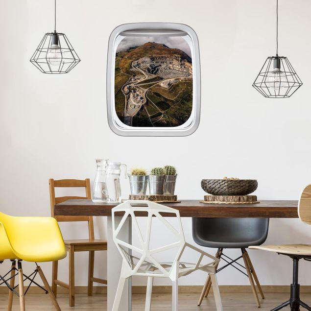 3D Wandtattoo - Fenster Flugzeug Steinbruch in Wales