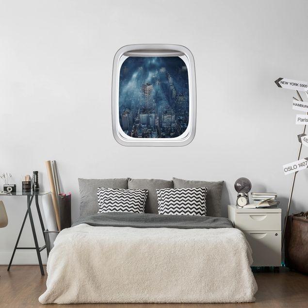 3D Wandtattoo - Fenster Flugzeug Wolken über New York