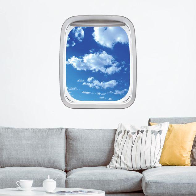 3D Wandtattoo - Fenster Flugzeug Wolkenhimmel