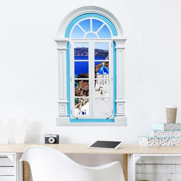3D Wandtattoo - Fenster Mediterran View Over Santorini