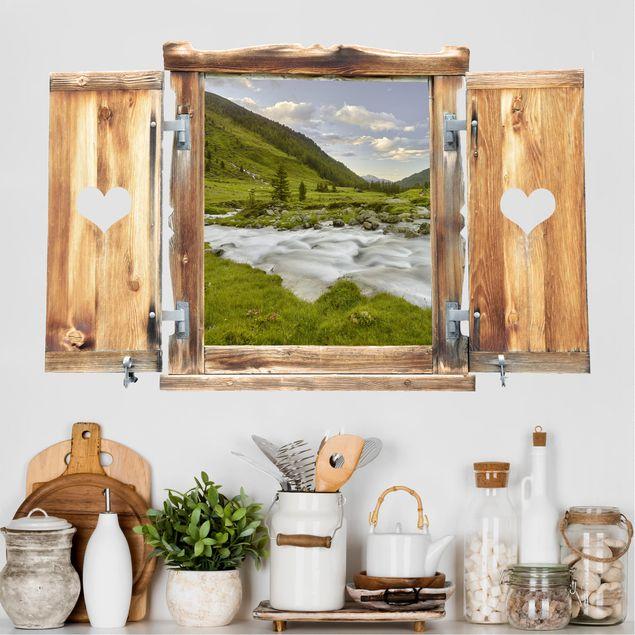 3D Wandtattoo - Fenster mit Herz Alpenwiese Tirol