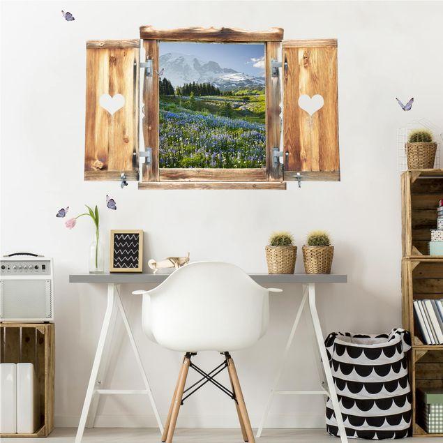 3D Wandtattoo - Fenster mit Herz Bergwiese mit Blumen