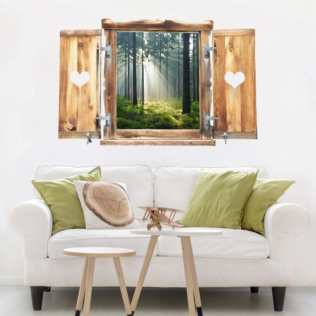 3D Wandtattoo - Fenster mit Herz Enlightened Forest