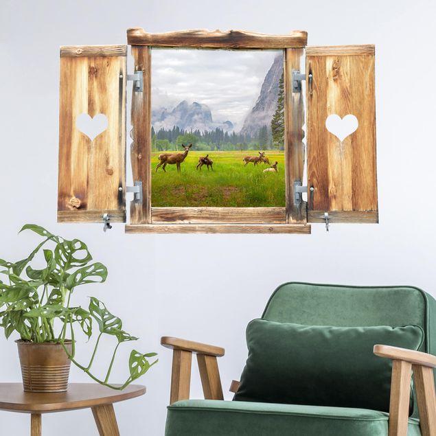 3D Wandtattoo - Fenster mit Herz Rehe in den Bergen