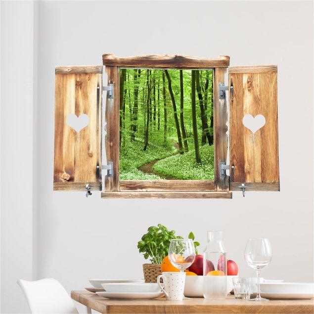 3D Wandtattoo - Fenster mit Herz Romantischer Waldweg