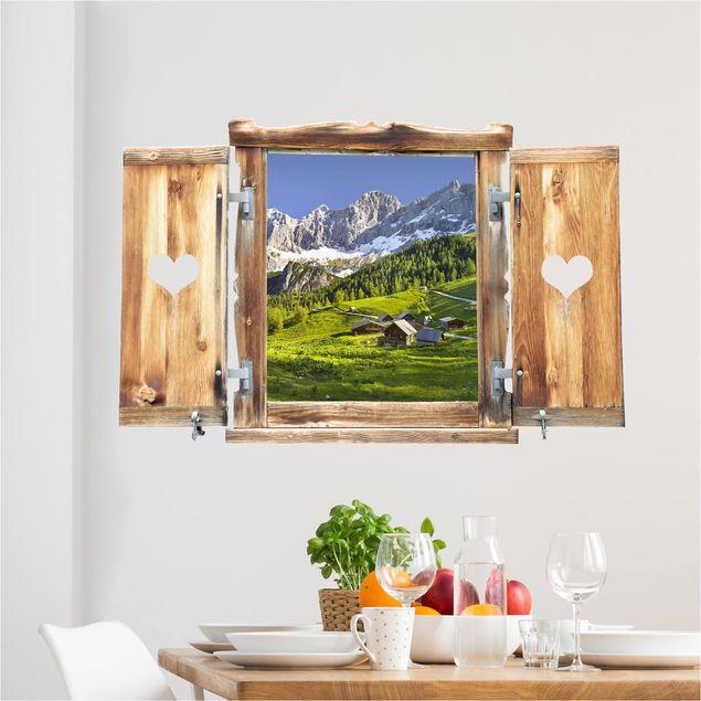 3D Wandtattoo - Fenster mit Herz Steiermark Almwiese