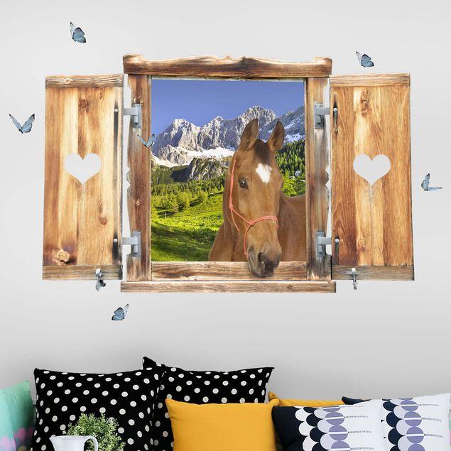 3D Wandtattoo - Fenster mit Herz und Pferd Steiermark Almwiese