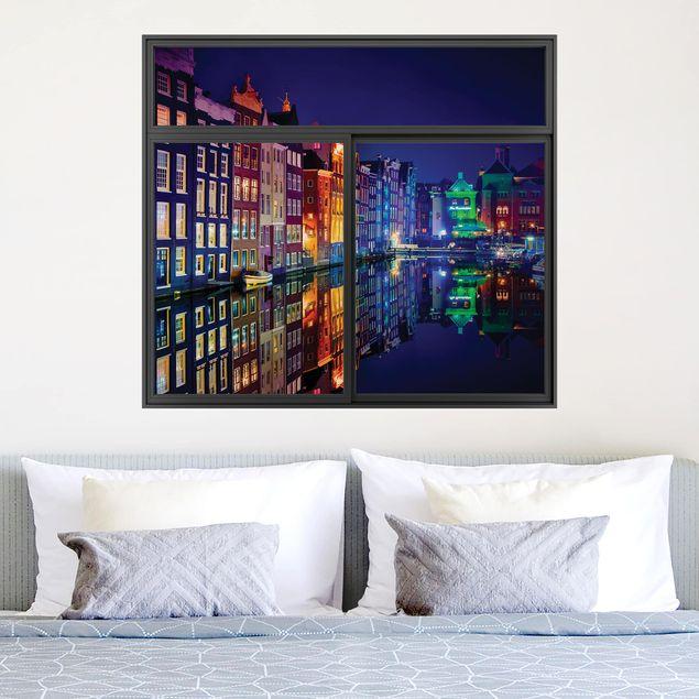 3D Wandtattoo - Fenster Schwarz Amsterdam bei Nacht