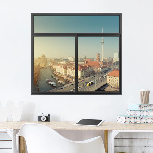 3D Wandtattoo - Fenster Schwarz Berlin am Morgen
