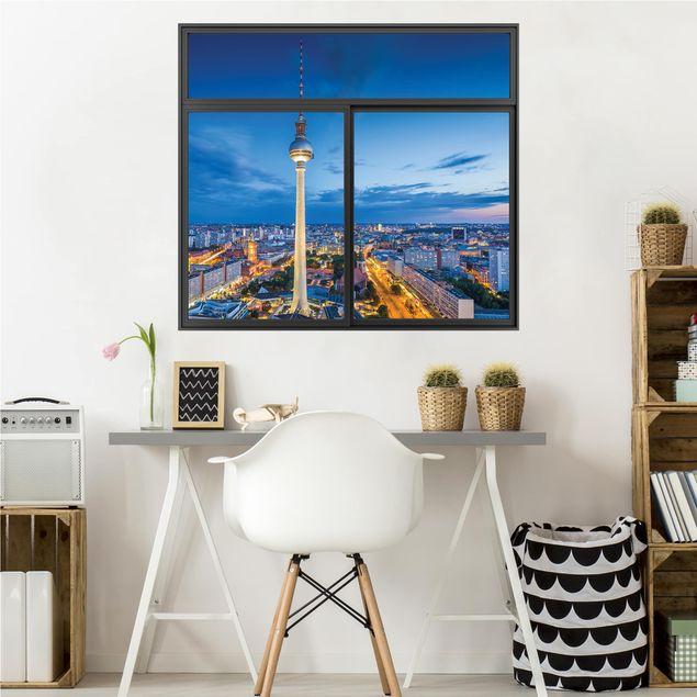 3D Wandtattoo - Fenster Schwarz Berlin Skyline bei Nacht mit Fernsehturm