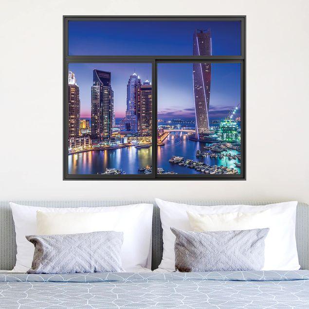 3D Wandtattoo - Fenster Schwarz Dubai Marina bei Nacht