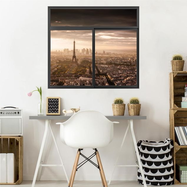 3D Wandtattoo - Fenster Schwarz Großartiger Blick über Paris