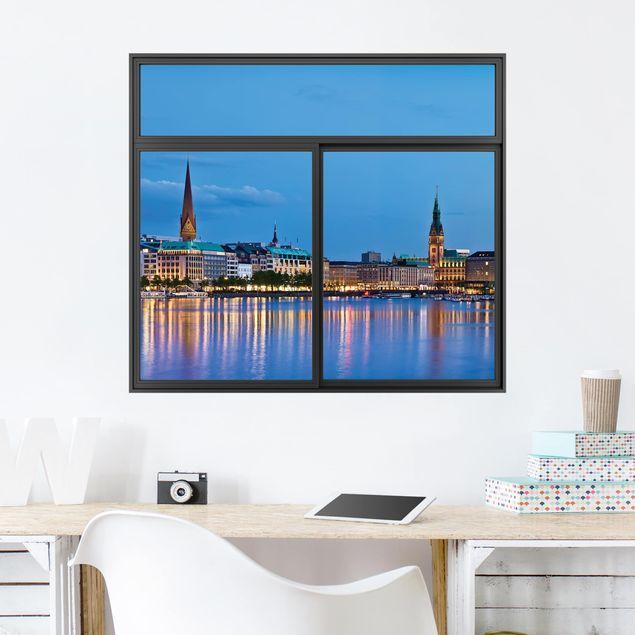 3D Wandtattoo - Fenster Schwarz Hamburg Skyline