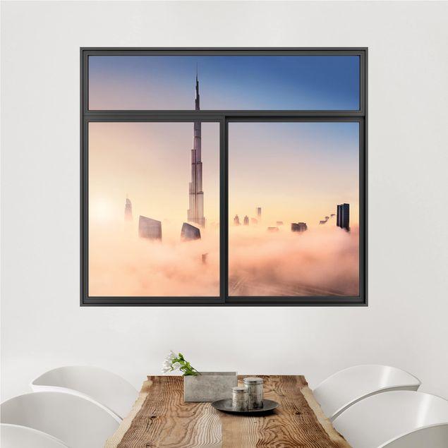 3D Wandtattoo - Fenster Schwarz Himmlische Skyline von Dubai