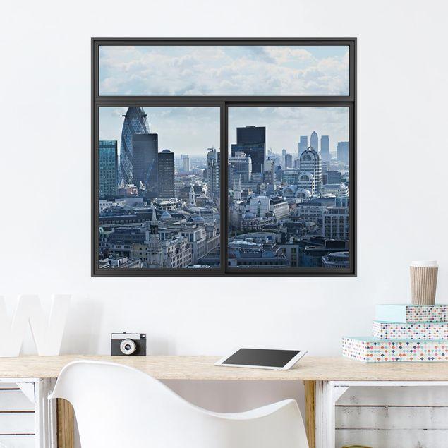 3D Wandtattoo - Fenster Schwarz London Skyline