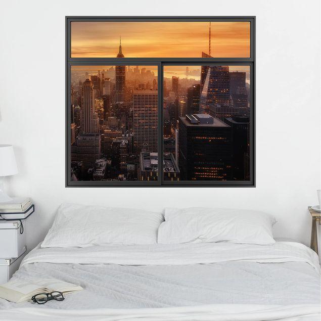 3D Wandtattoo - Fenster Schwarz Manhattan Skyline Abendstimmung