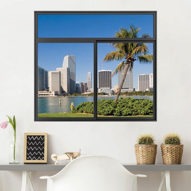 3D Wandtattoo - Fenster Schwarz Miami Beach Skyline