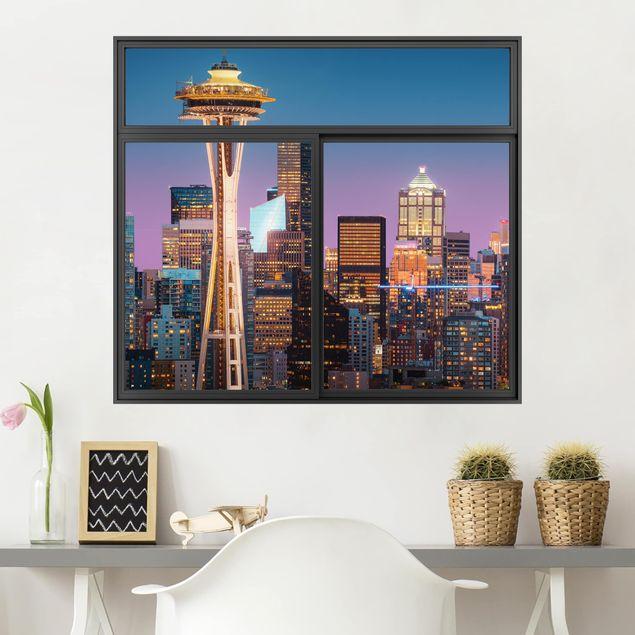 3D Wandtattoo - Fenster Schwarz Seattle Skyline in Pink