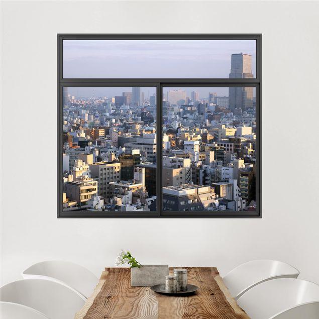 3D Wandtattoo - Fenster Schwarz Tokyo City
