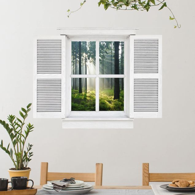 3D Wandtattoo - Flügelfenster Enlightened Forest