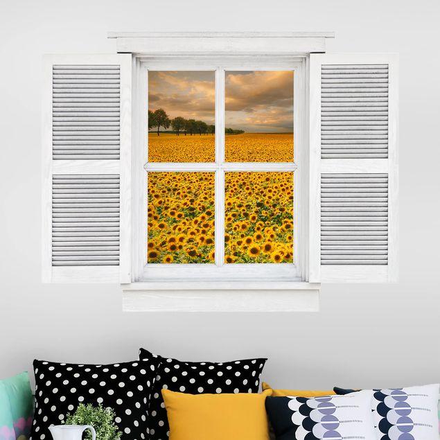 3D Wandtattoo - Flügelfenster Feld mit Sonnenblumen