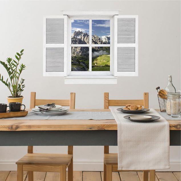 3D Wandtattoo - Flügelfenster Italienische Alpen