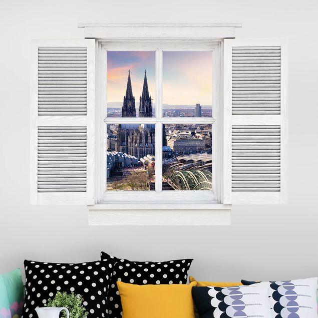3D Wandtattoo - Flügelfenster Köln Skyline mit Dom