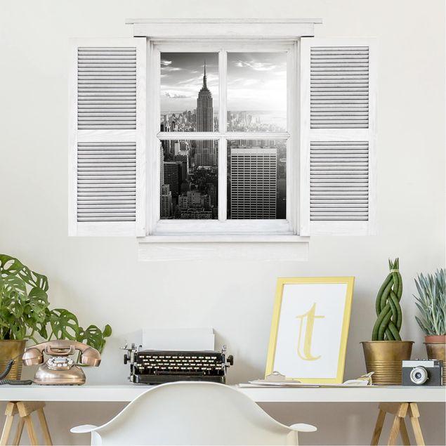 3D Wandtattoo - Flügelfenster Manhattan Skyline
