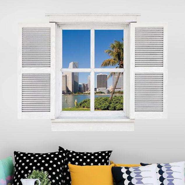 3D Wandtattoo - Flügelfenster Miami Beach Skyline