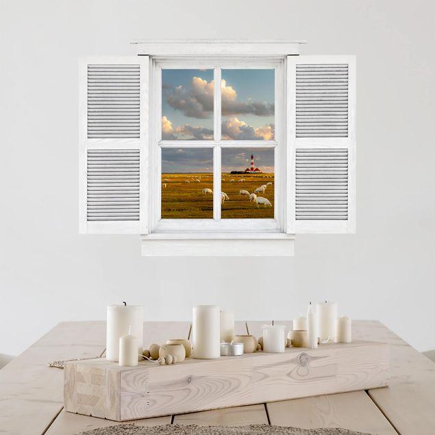 3D Wandtattoo - Flügelfenster Nordsee Leuchtturm mit Schafsherde