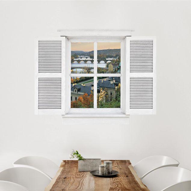 3D Wandtattoo - Flügelfenster Prag