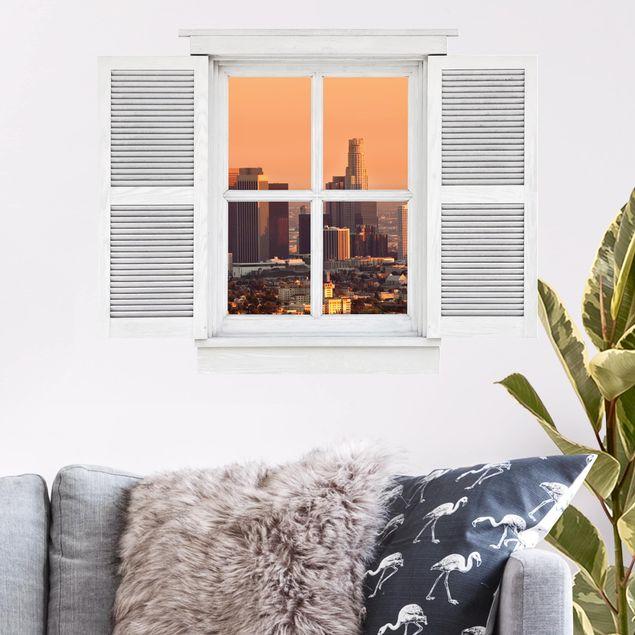 3D Wandtattoo - Flügelfenster Skyline of Los Angeles