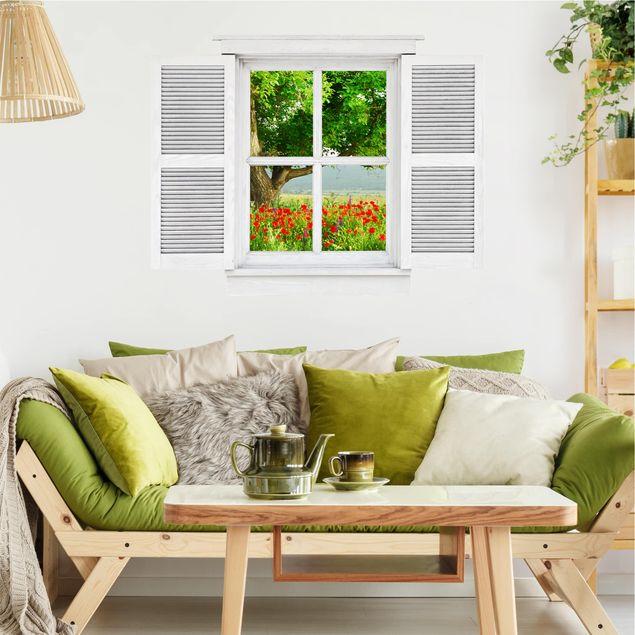 3D Wandtattoo - Flügelfenster Sommerwiese