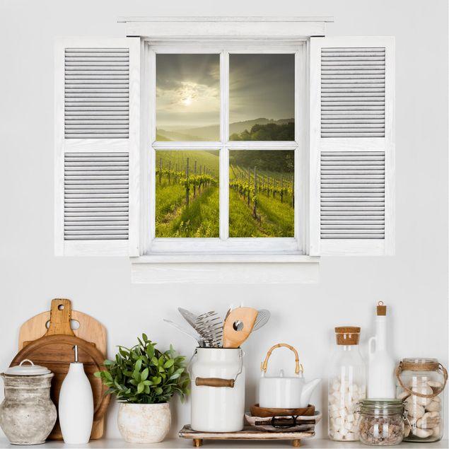3D Wandtattoo - Flügelfenster Sonnenstrahlen Weinberg