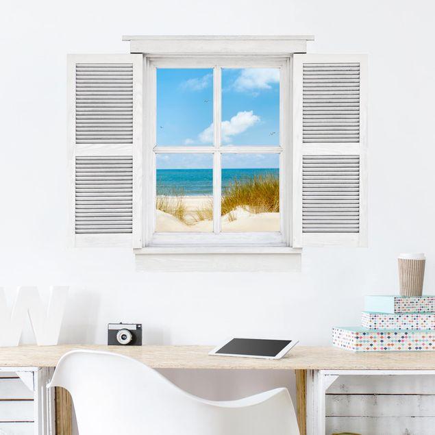 3D Wandtattoo - Flügelfenster Strand an der Nordsee