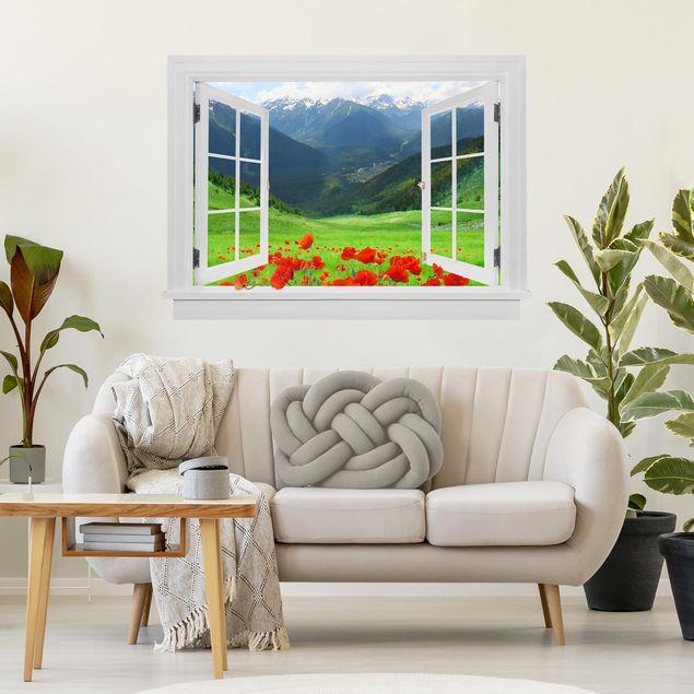 3D Wandtattoo - Offenes Fenster Alpenwiese und Mohn