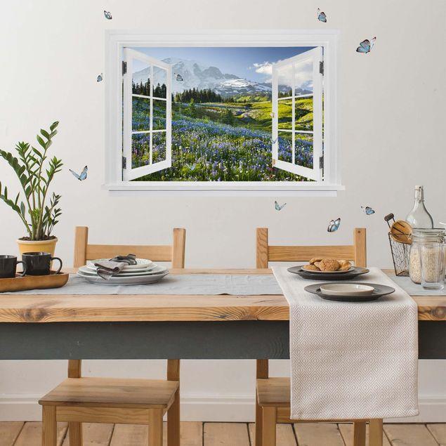 3D Wandtattoo - Offenes Fenster Bergwiese mit Blumen vor Mt. Rainier und Schmetterlinge