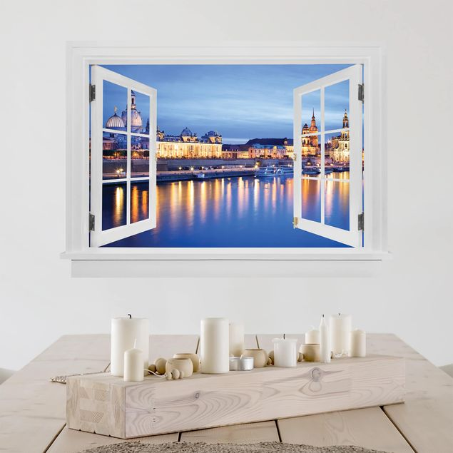 3D Wandtattoo - Offenes Fenster Canaletto-Blick bei Nacht
