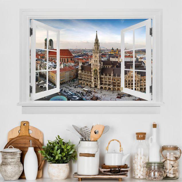 3D Wandtattoo - Offenes Fenster City of Munich