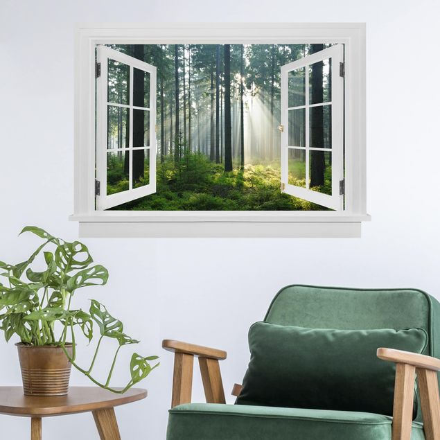 3D Wandtattoo - Offenes Fenster Enlightened Forest