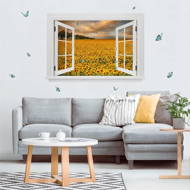 3D Wandtattoo - Offenes Fenster Feld mit Sonnenblumen