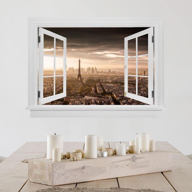 3D Wandtattoo - Offenes Fenster Großartiger Blick über Paris
