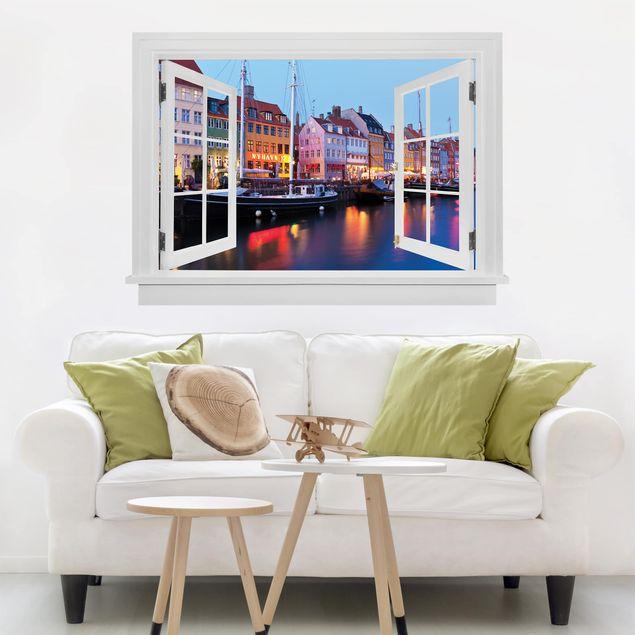3D Wandtattoo - Offenes Fenster Kopenhagener Hafen am Abend
