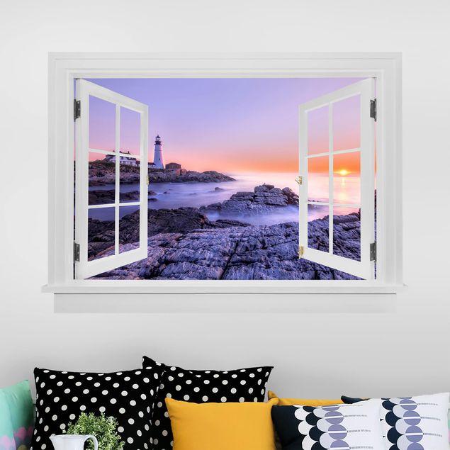3D Wandtattoo - Offenes Fenster Leuchtturm am Morgen