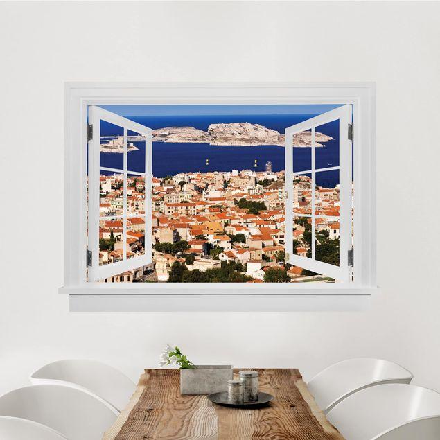 3D Wandtattoo - Offenes Fenster Marseille