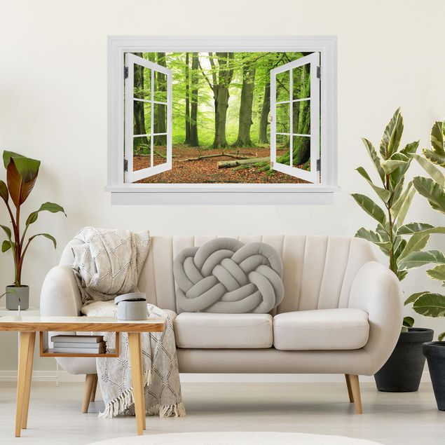 3D Wandtattoo - Offenes Fenster Mighty Beech Trees